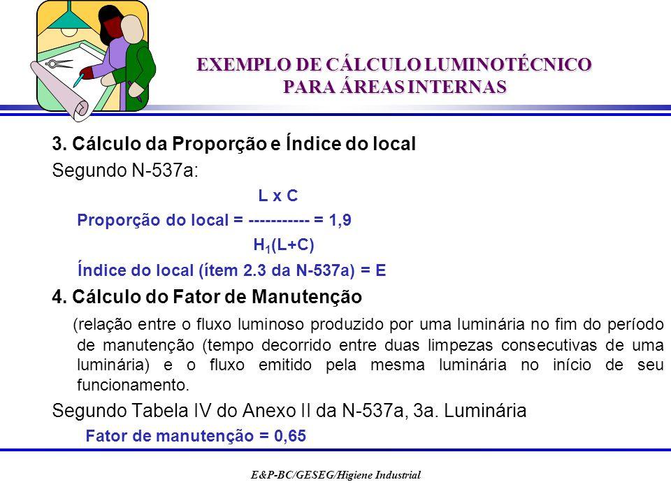 EXEMPLO DE CÁLCULO LUMINOTÉCNICO PARA ÁREAS INTERNAS