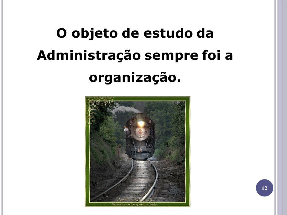 O objeto de estudo da Administração sempre foi a organização.