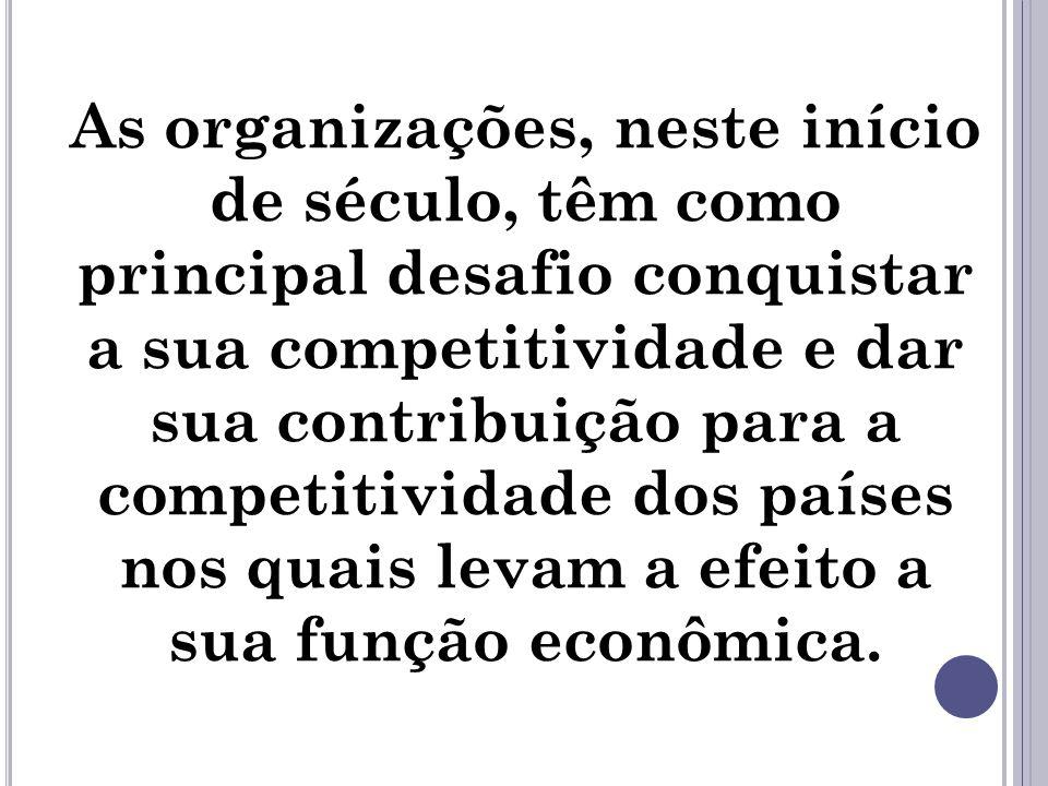 As organizações, neste início de século, têm como principal desafio conquistar a sua competitividade e dar sua contribuição para a competitividade dos países nos quais levam a efeito a sua função econômica.