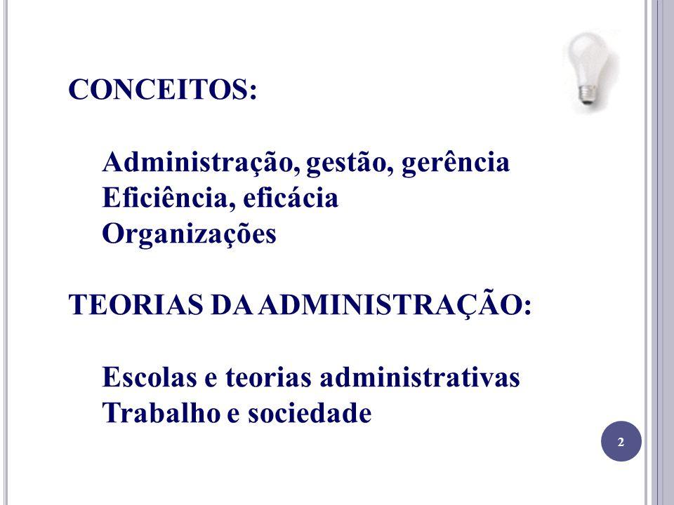 CONCEITOS: Administração, gestão, gerência. Eficiência, eficácia. Organizações. TEORIAS DA ADMINISTRAÇÃO: