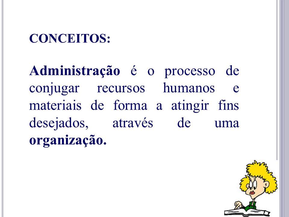 CONCEITOS: Administração é o processo de conjugar recursos humanos e materiais de forma a atingir fins desejados, através de uma organização.