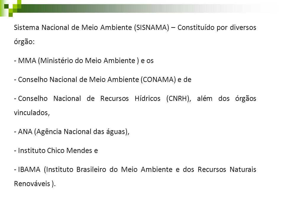 Sistema Nacional de Meio Ambiente (SISNAMA) – Constituído por diversos órgão:
