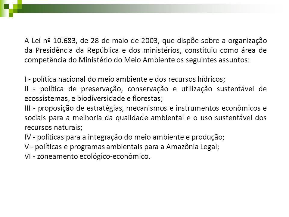 A Lei nº 10.683, de 28 de maio de 2003, que dispõe sobre a organização da Presidência da República e dos ministérios, constituiu como área de competência do Ministério do Meio Ambiente os seguintes assuntos: