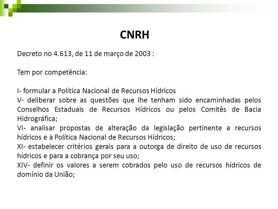 CNRH Decreto no 4.613, de 11 de março de 2003 : Tem por competência: