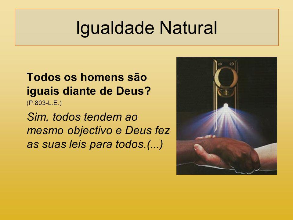 Igualdade Natural Todos os homens são iguais diante de Deus