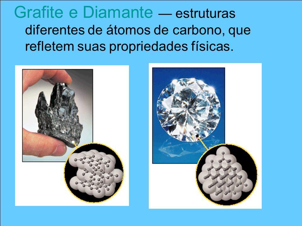 Grafite e Diamante — estruturas diferentes de átomos de carbono, que refletem suas propriedades físicas.