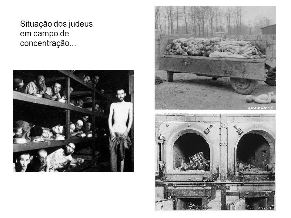 Situação dos judeus em campo de concentração...