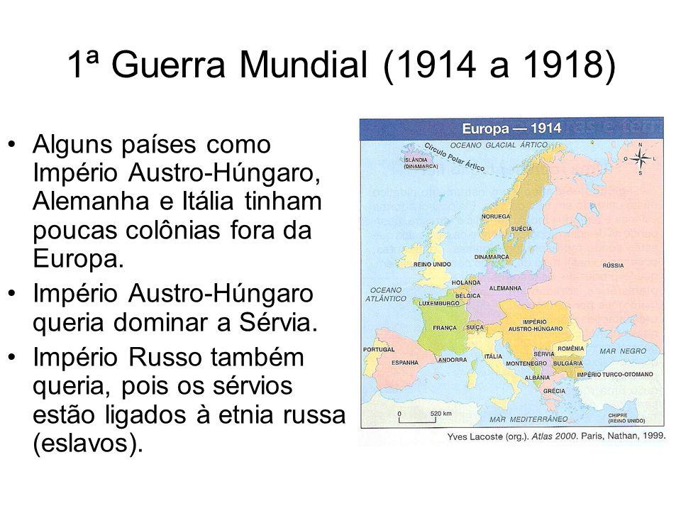 1ª Guerra Mundial (1914 a 1918)Alguns países como Império Austro-Húngaro, Alemanha e Itália tinham poucas colônias fora da Europa.