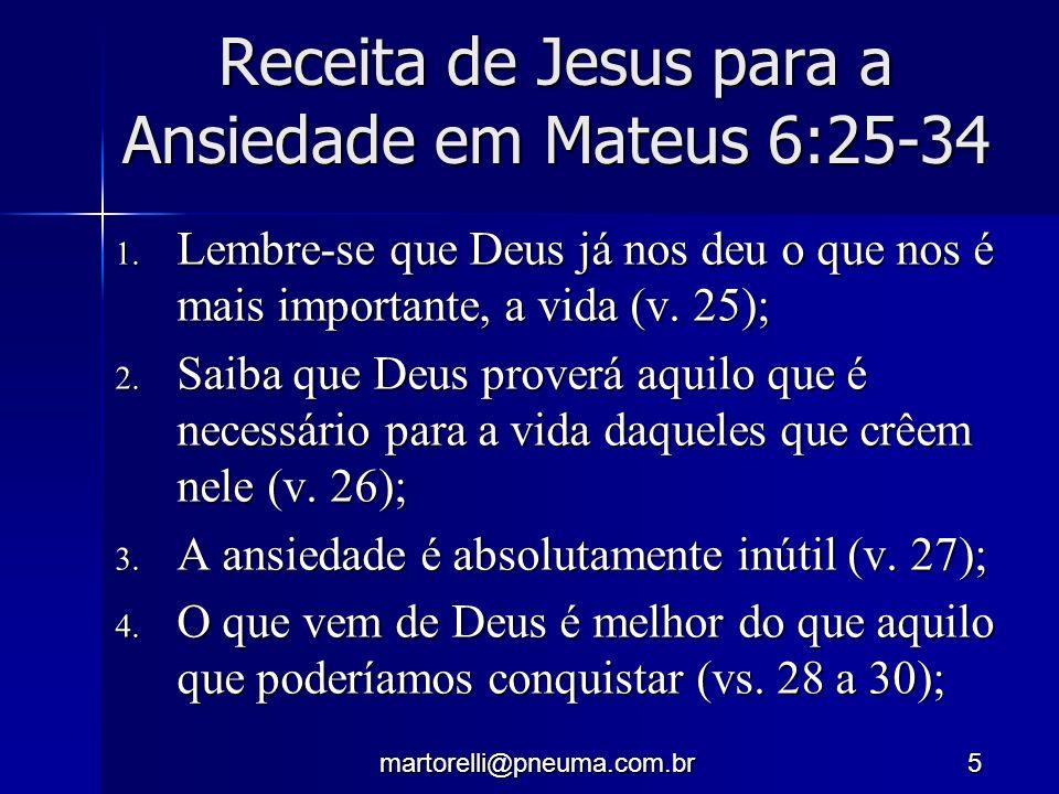 Receita de Jesus para a Ansiedade em Mateus 6:25-34
