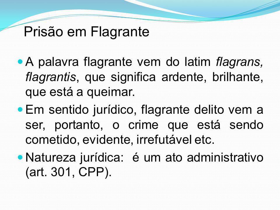 Prisão em Flagrante A palavra flagrante vem do latim flagrans, flagrantis, que significa ardente, brilhante, que está a queimar.