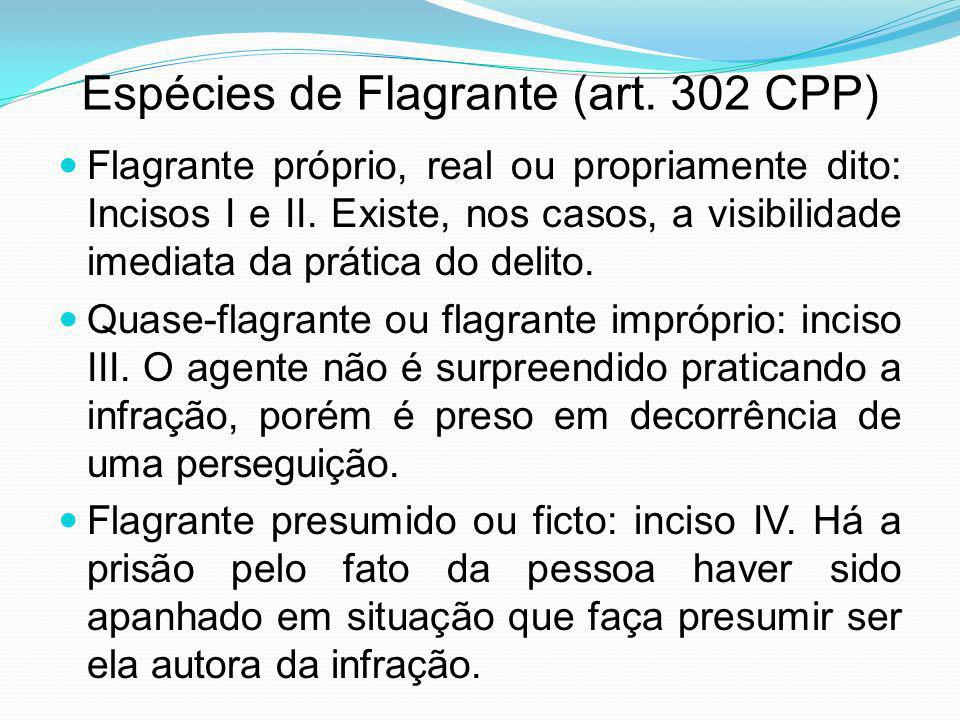 Espécies de Flagrante (art. 302 CPP)