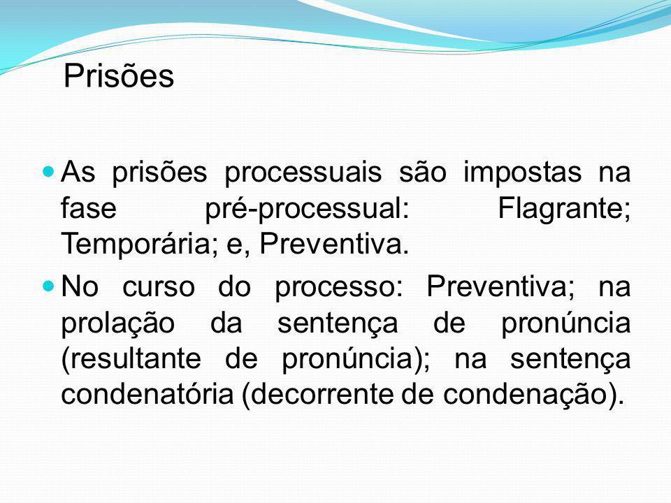 PrisõesAs prisões processuais são impostas na fase pré-processual: Flagrante; Temporária; e, Preventiva.