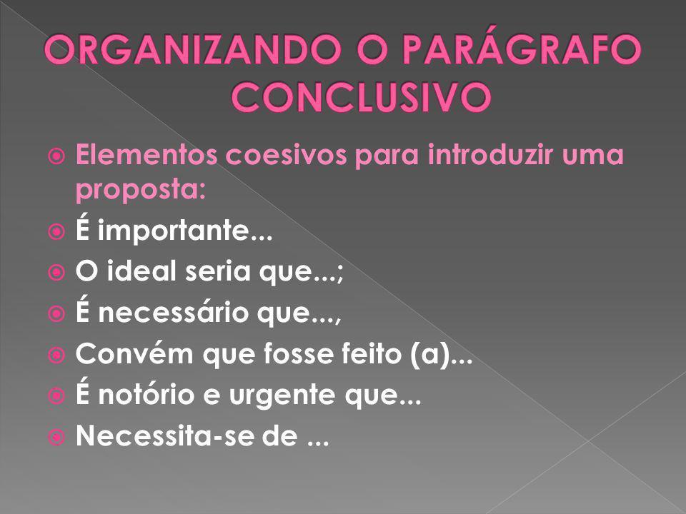 ORGANIZANDO O PARÁGRAFO CONCLUSIVO