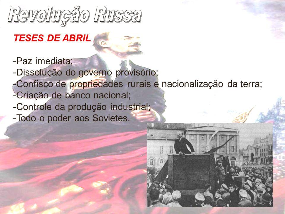 Revolução Russa TESES DE ABRIL -Paz imediata;