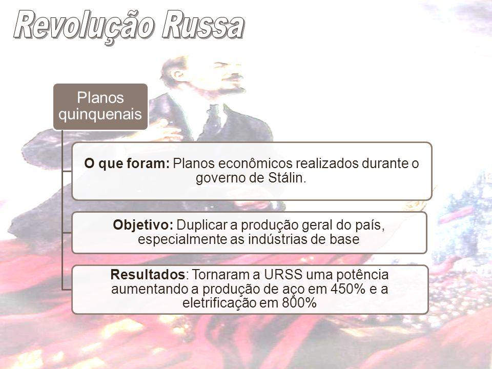 O que foram: Planos econômicos realizados durante o governo de Stálin.