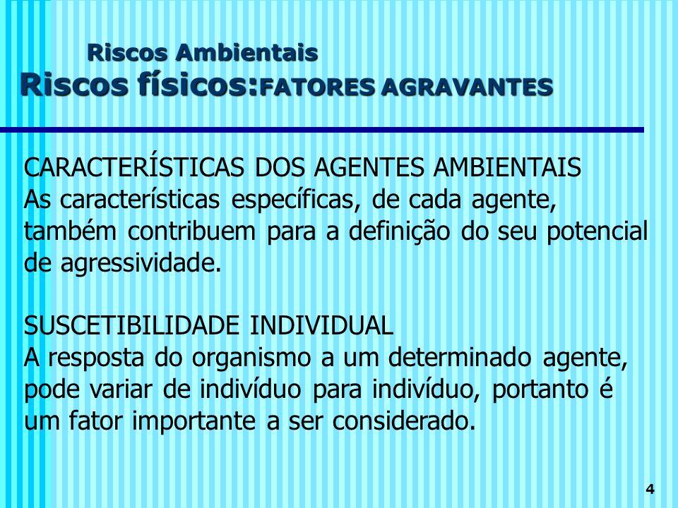 CARACTERÍSTICAS DOS AGENTES AMBIENTAIS