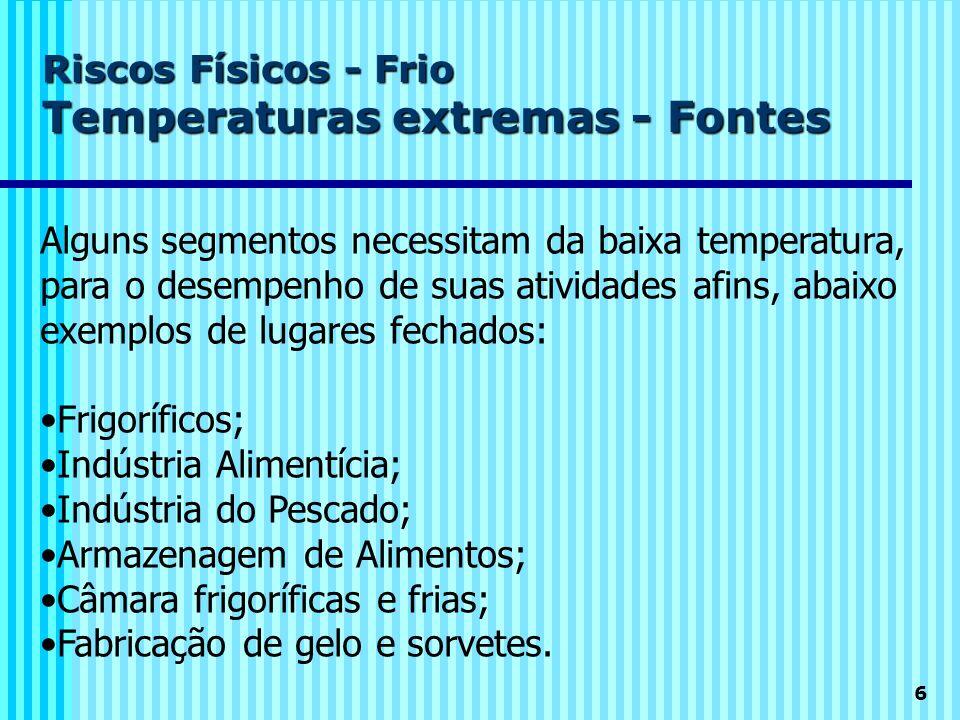 Riscos Físicos - Frio Temperaturas extremas - Fontes