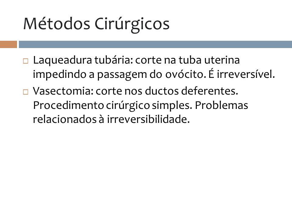 Métodos Cirúrgicos Laqueadura tubária: corte na tuba uterina impedindo a passagem do ovócito. É irreversível.