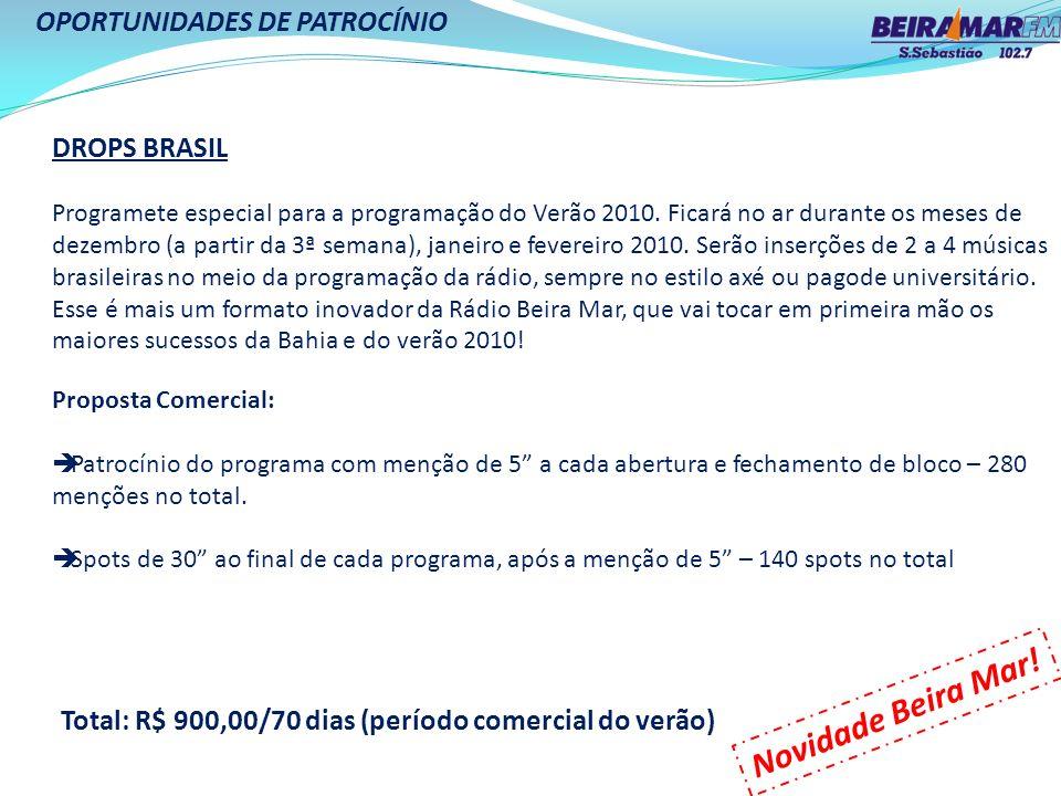 Novidade Beira Mar! OPORTUNIDADES DE PATROCÍNIO DROPS BRASIL