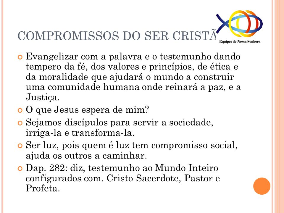 COMPROMISSOS DO SER CRISTÃO