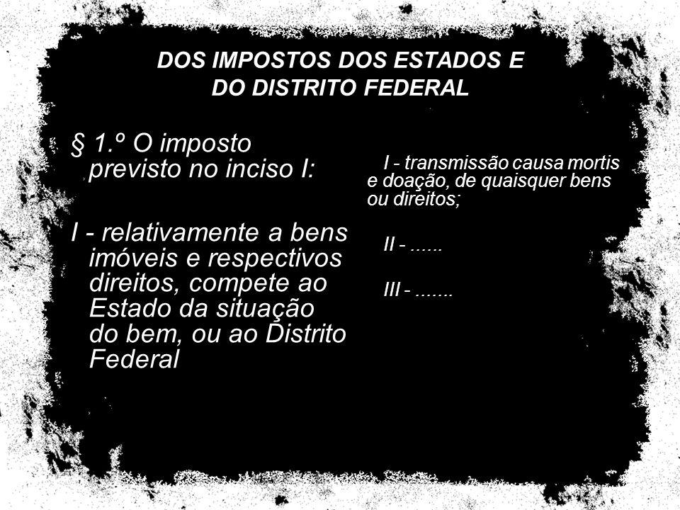 DOS IMPOSTOS DOS ESTADOS E DO DISTRITO FEDERAL