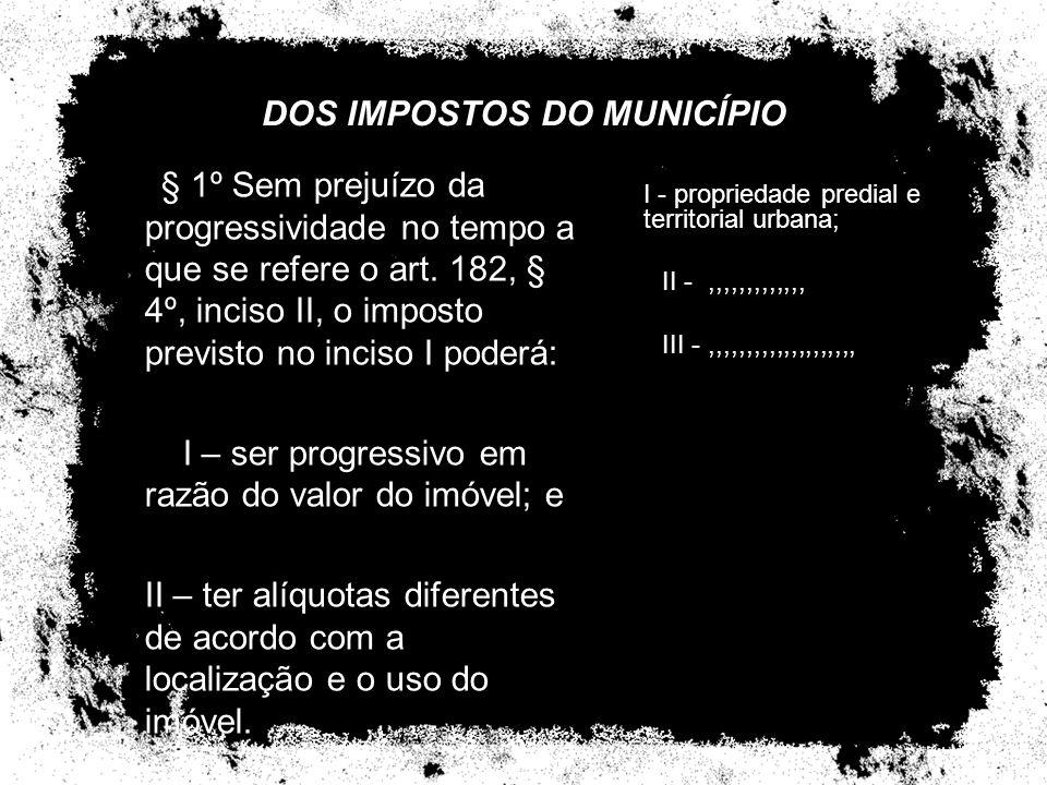 DOS IMPOSTOS DO MUNICÍPIO