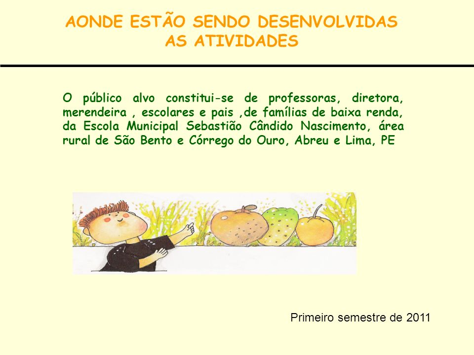 AONDE ESTÃO SENDO DESENVOLVIDAS AS ATIVIDADES
