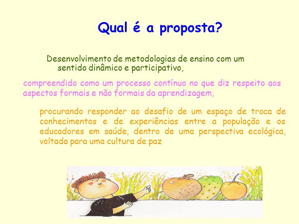 Qual é a proposta Desenvolvimento de metodologias de ensino com um sentido dinâmico e participativo,