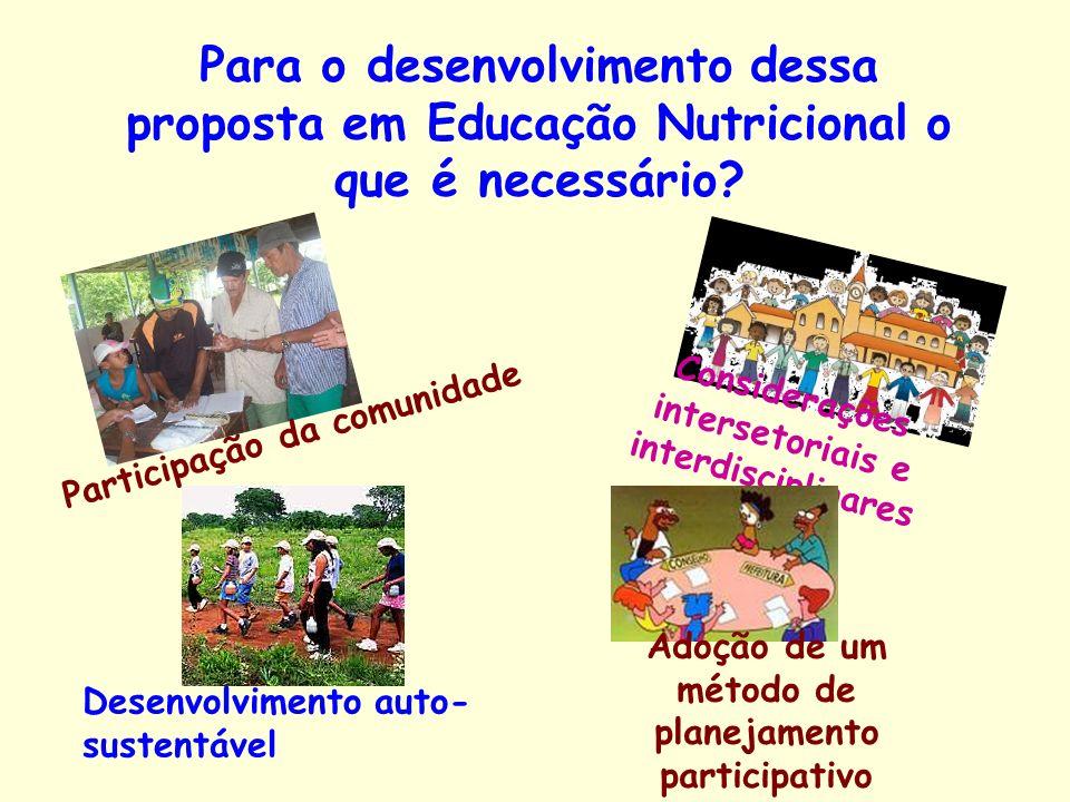 Para o desenvolvimento dessa proposta em Educação Nutricional o que é necessário