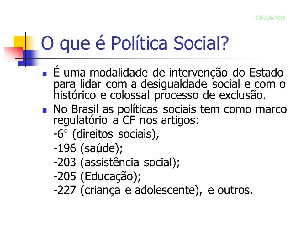 O que é Política Social CEAS-MG.