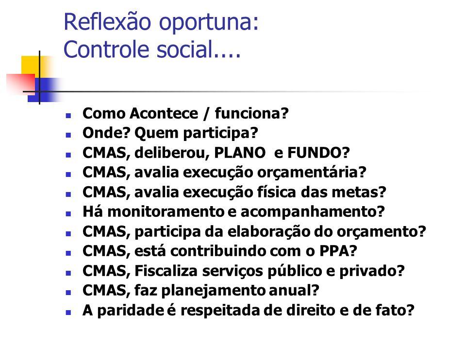Reflexão oportuna: Controle social....