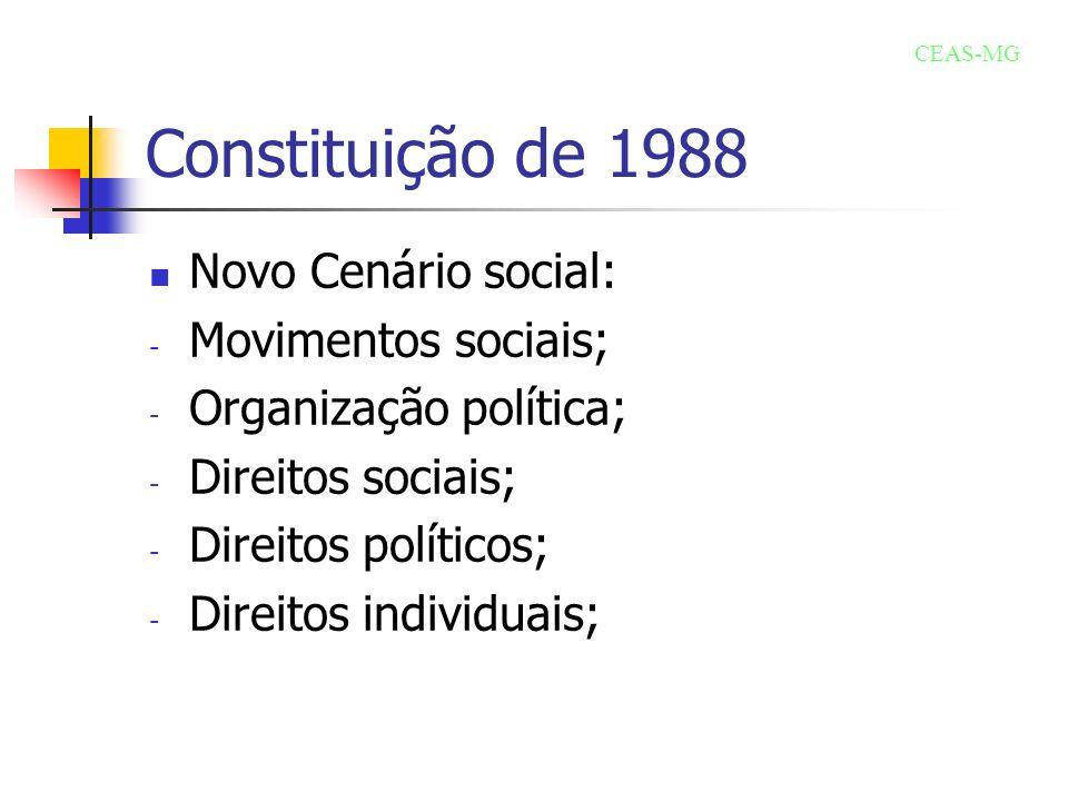 Constituição de 1988 Novo Cenário social: Movimentos sociais;