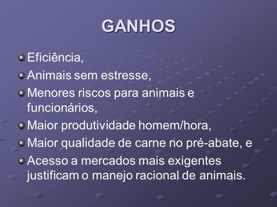 GANHOS Eficiência, Animais sem estresse,