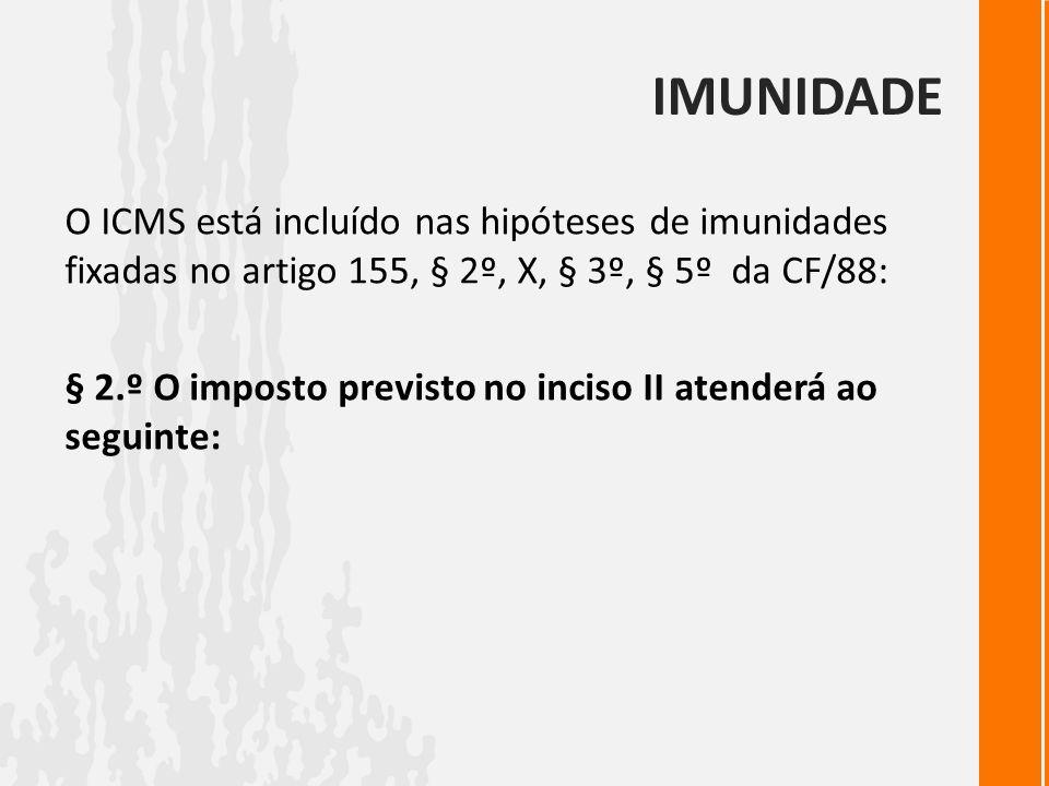 IMUNIDADEO ICMS está incluído nas hipóteses de imunidades fixadas no artigo 155, § 2º, X, § 3º, § 5º da CF/88: