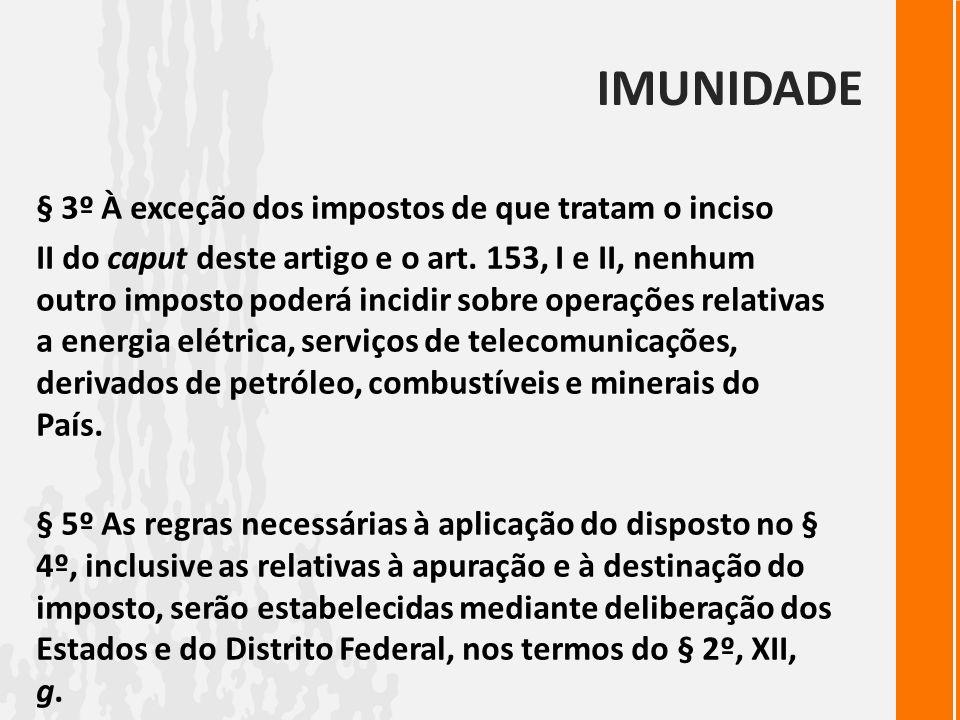 IMUNIDADE § 3º À exceção dos impostos de que tratam o inciso