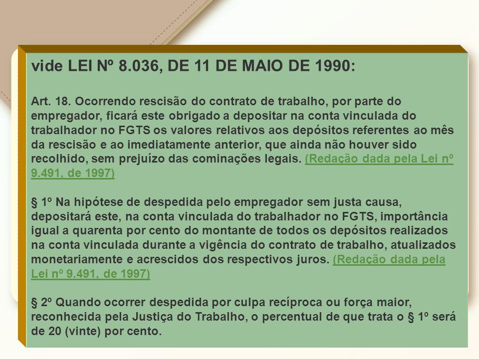 vide LEI Nº 8.036, DE 11 DE MAIO DE 1990: