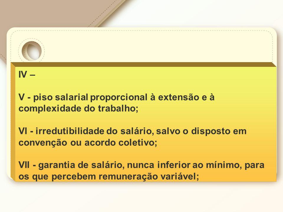 IV – V - piso salarial proporcional à extensão e à complexidade do trabalho;