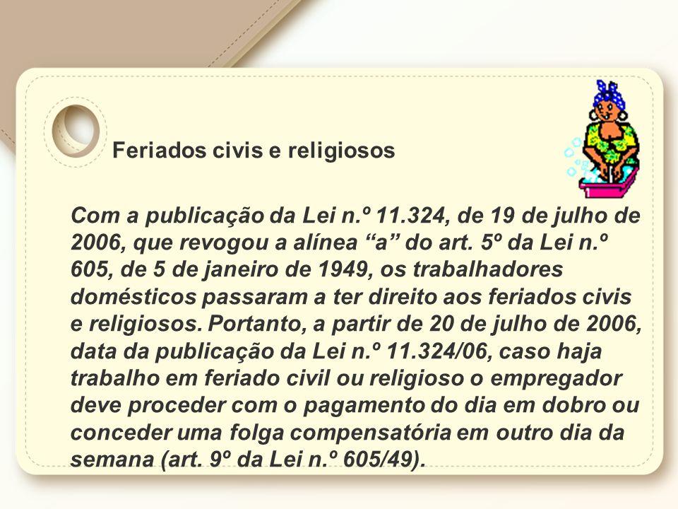 Feriados civis e religiosos