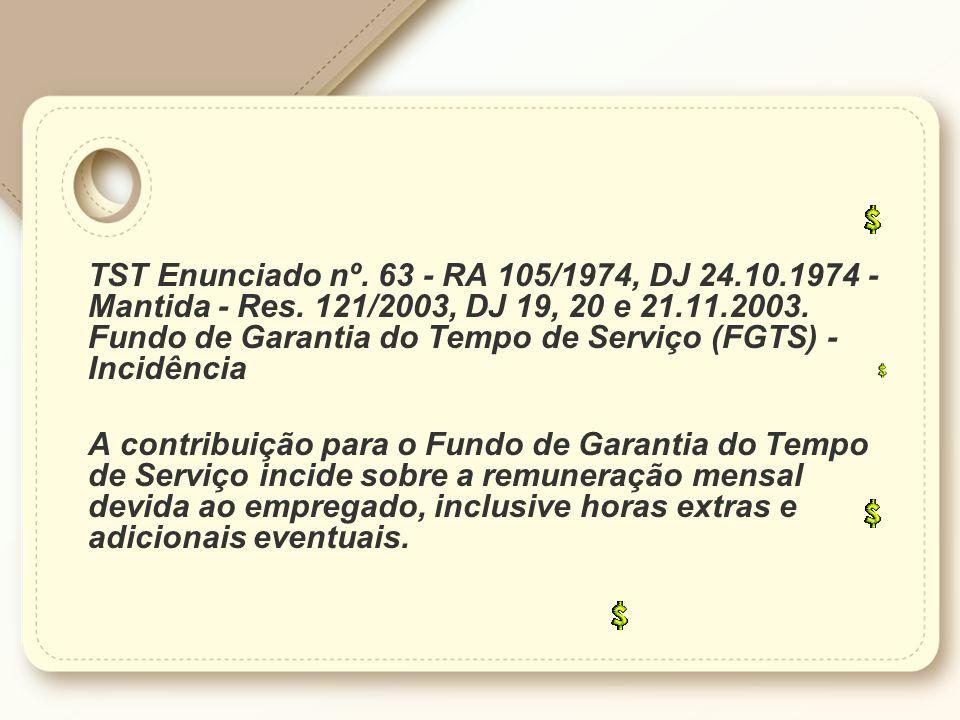 TST Enunciado nº. 63 - RA 105/1974, DJ 24. 10. 1974 - Mantida - Res