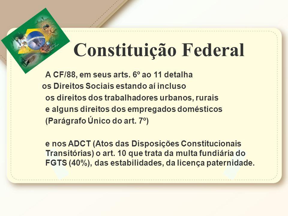 Constituição Federal A CF/88, em seus arts. 6º ao 11 detalha
