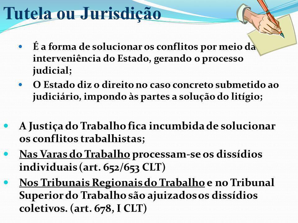 Tutela ou JurisdiçãoÉ a forma de solucionar os conflitos por meio da interveniência do Estado, gerando o processo judicial;