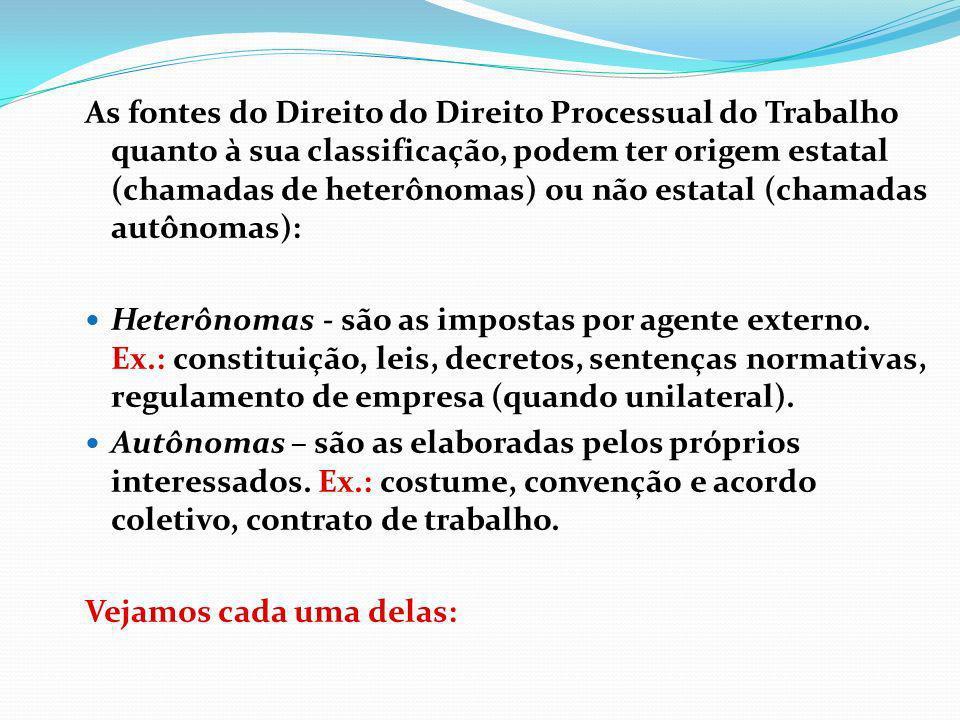 As fontes do Direito do Direito Processual do Trabalho quanto à sua classificação, podem ter origem estatal (chamadas de heterônomas) ou não estatal (chamadas autônomas):