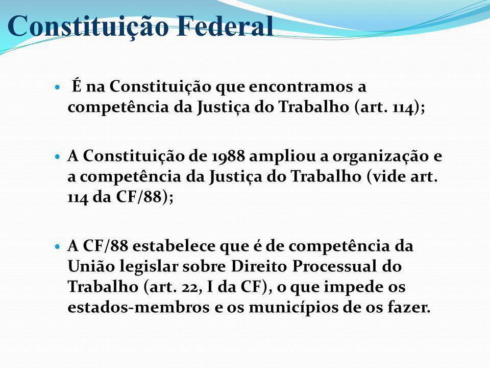 Constituição Federal É na Constituição que encontramos a competência da Justiça do Trabalho (art. 114);