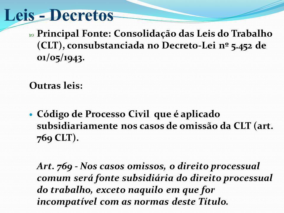 Leis - Decretos Principal Fonte: Consolidação das Leis do Trabalho (CLT), consubstanciada no Decreto-Lei nº 5.452 de 01/05/1943.