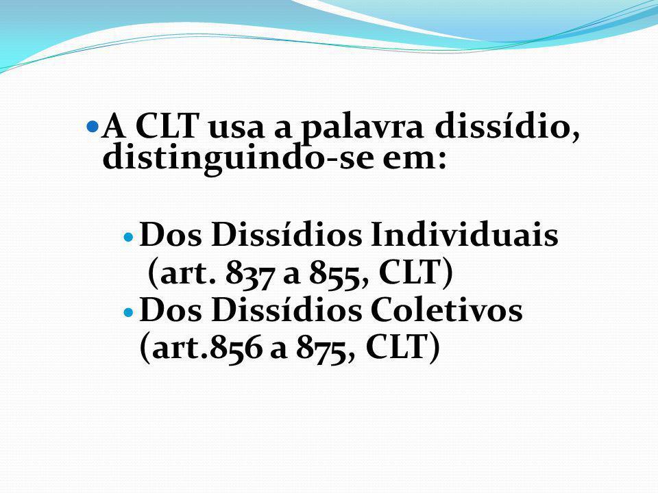 A CLT usa a palavra dissídio, distinguindo-se em: