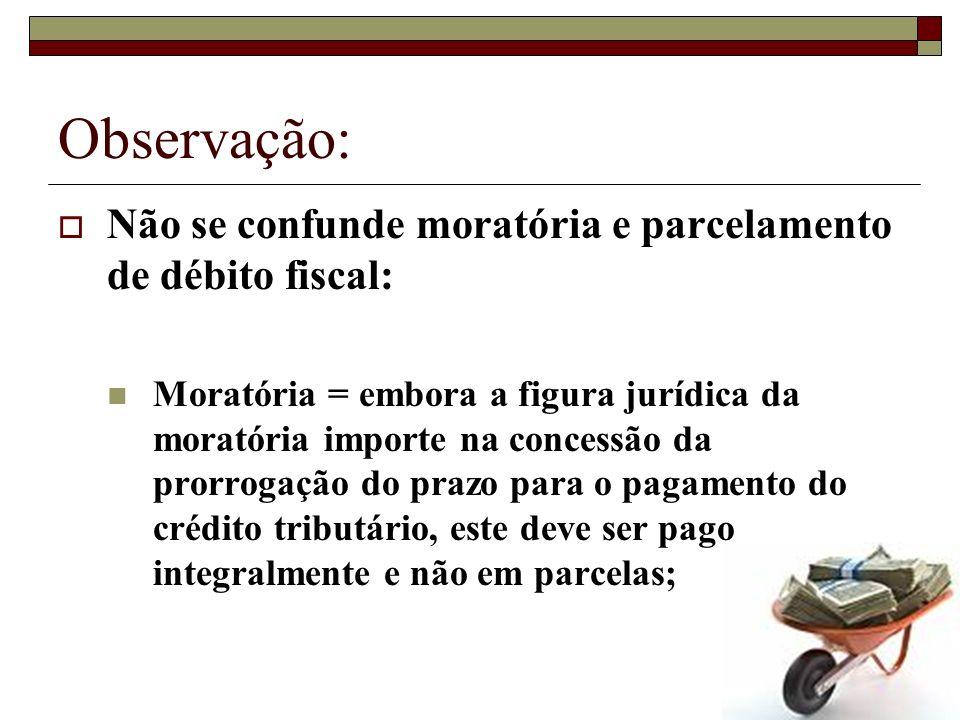 Observação: Não se confunde moratória e parcelamento de débito fiscal: