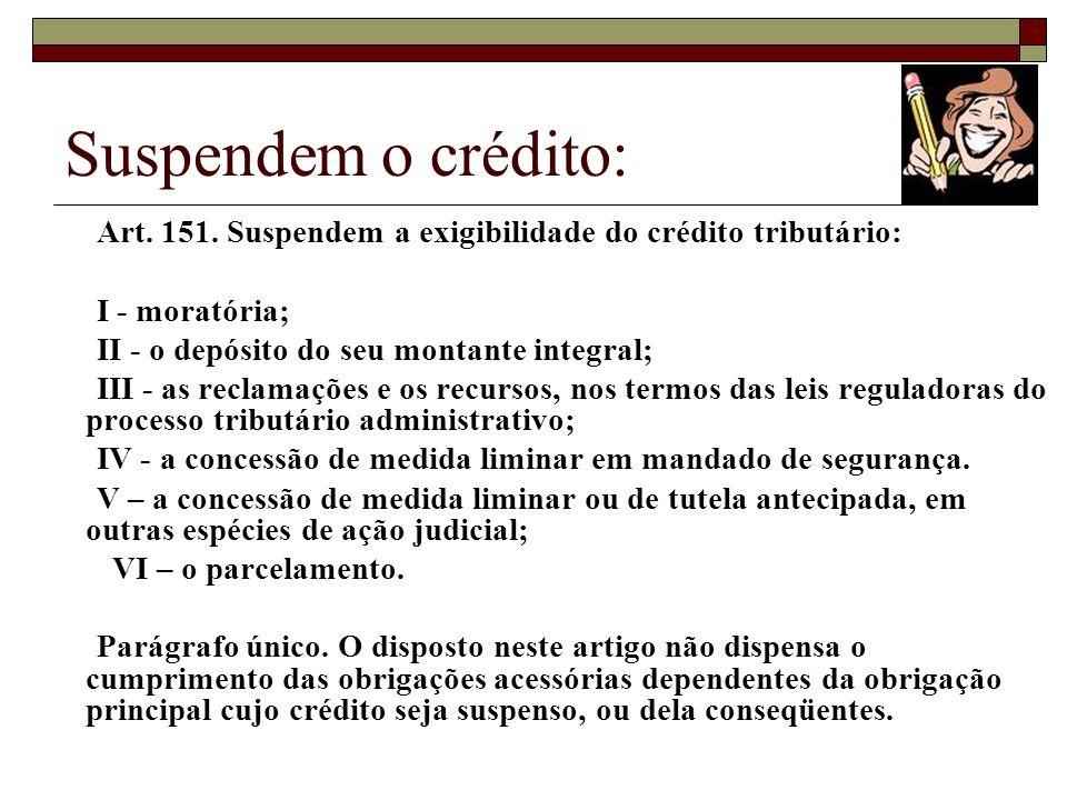 Suspendem o crédito: Art. 151. Suspendem a exigibilidade do crédito tributário: I - moratória;