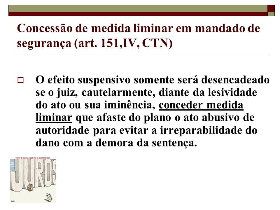 Concessão de medida liminar em mandado de segurança (art. 151,IV, CTN)
