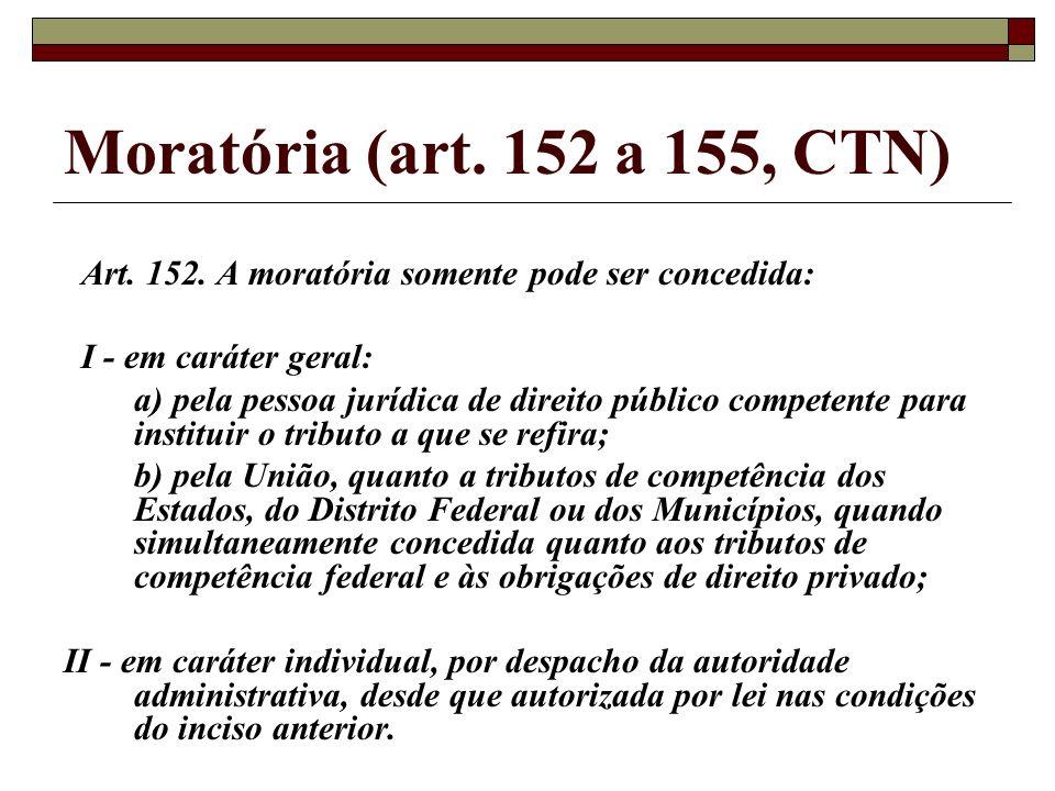 Moratória (art. 152 a 155, CTN) Art. 152. A moratória somente pode ser concedida: I - em caráter geral: