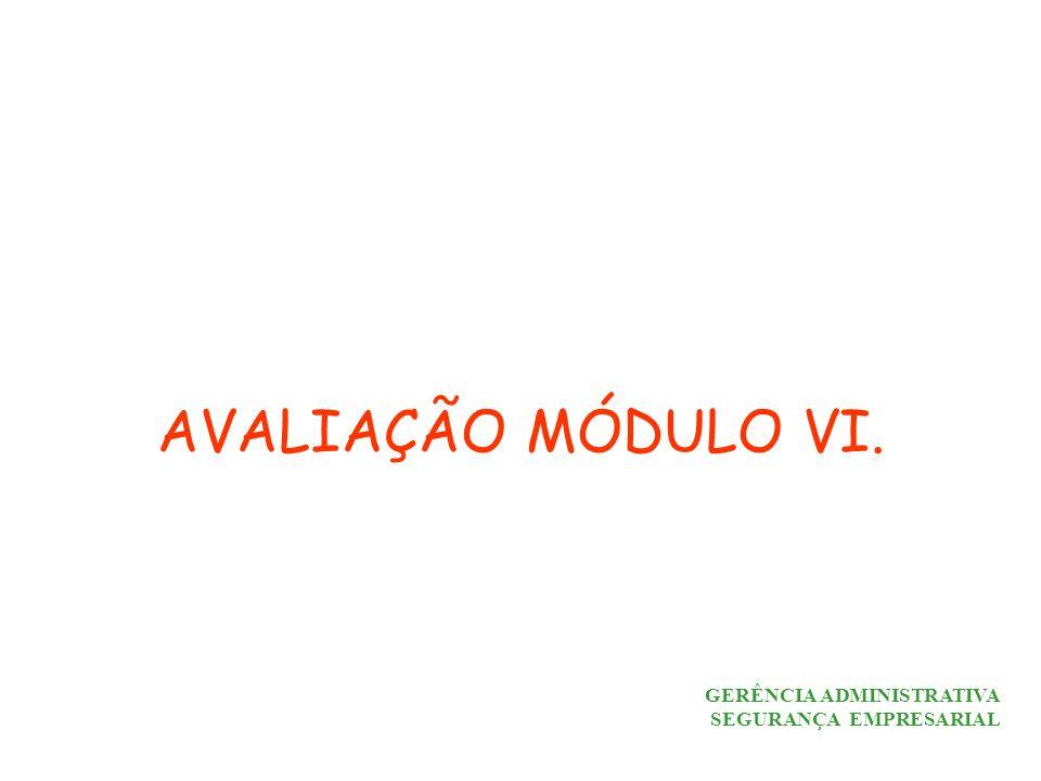 AVALIAÇÃO MÓDULO VI. GERÊNCIA ADMINISTRATIVA SEGURANÇA EMPRESARIAL